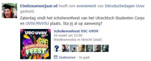 Facebook scholierenfeest USC/UVSV
